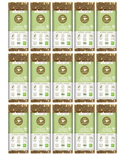 eat Performance® Green Protein Energie Riegel (15x 40g) - Bio, Paleo, Vegan, Glutenfrei, Laktosefrei, Ohne Zuckerzusatz, Aus 100{a681e6d3fe0e61c8d8fff60d06baae8adf5cba51298bfcdd5c9ec0e1f7b907ac} Natürlichen Zutaten