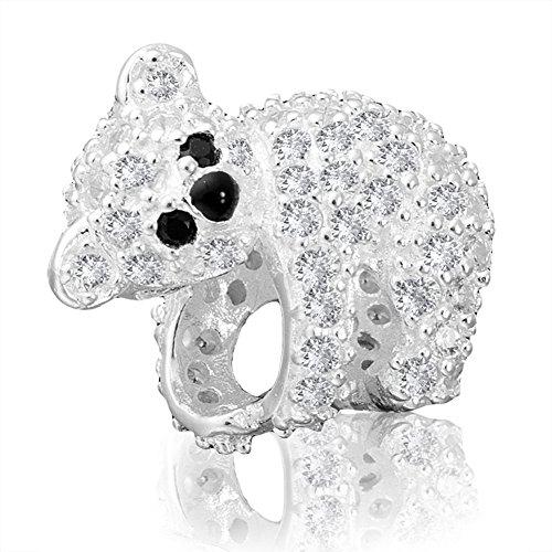 ANDANTE - Premium Collection - 925 Sterling Silber Kristall Bead Koala Bär mit CZ Zirkonia - Element Kugel für European Beads + Organzasäckchen