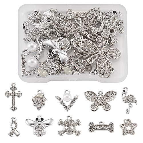 Beadthoven - 20 abalorios de aleación de diamantes de imitación de 10 estilos de abejas de cristal, estrella de mariposa, colgante de cráneo de cruz para collar, agujero de fabricación de joyas