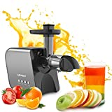Slow Juicer Cold Press Juicer Masticating Juicer Machines Juice Extractor for Celery Kale Ginger Kiwi Carrot Quiet Easy to Clean High Yield Drier Pulp BPA-Free Reverse Function for Vegetables & Fruits