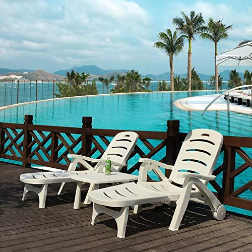 AAGYJ Tumbona Plegable reclinable, Juego de tumbonas con Ruedas y Mesa de...