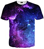 (ピゾフ)Pizoff メンズ 半袖 紫 ギャラクシー 星空 3D プリント お揃い TシャツC7058-07-XXL
