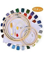 AUSHEN 刺しゅう系 刺繍系セット 108色 8M クロスステッチ カラーが豊富でキレイ!収納ボックス付き 刺しゅう針32本 抜糸ツール2本 巻いた刺しゅう系 きれいに整理!コンパクト 収納便利 刺しゅうツール
