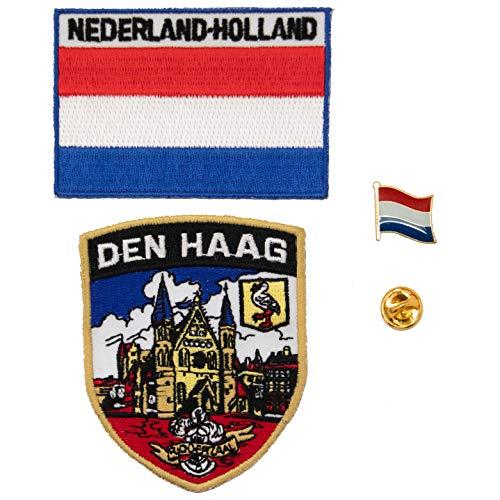 A-ONE 3 Stück – Aufnäher mit dem Haag-Schild + Niederland-Flagge + Abzeichen der niederländischen Flagge, Den Haag Aufnäher & Länder-Anstecknadeln.