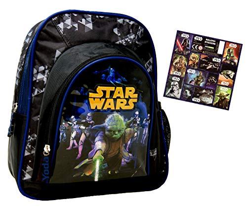 SW Star Wars Yoda - Kindergarten-Rucksack/Kindergartentasche - für die Brotdose/Trinkflasche/Vorschul-Rucksack + 12 Aufkleber