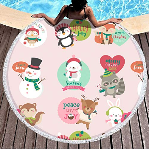 Generic Branded Round Tablecloth, Merry Christmas, Hippie Cute, Washable Pattern Rug for Yoga Meditation, White, 150 cm