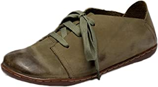 Mordenmiss Women's New Leather Lace Up Flat Shoes