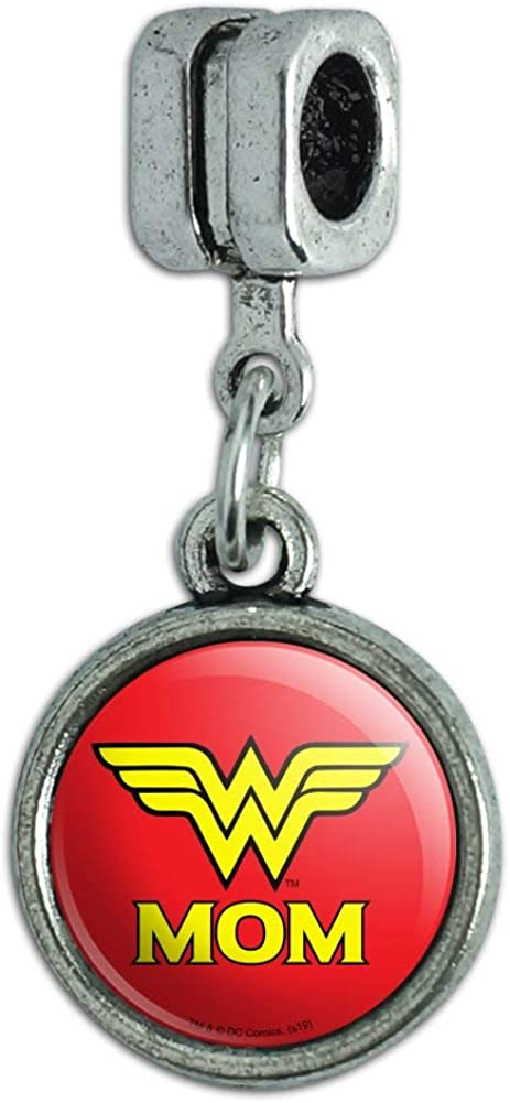GRAPHICS & MORE Wonder Woman Wonder Mom Logo Italian European Style Bracelet Charm Bead