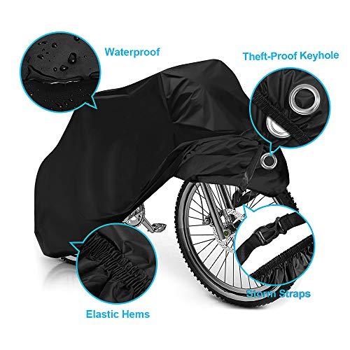 otumixx Fahrradabdeckung Wasserdicht 210T Fahrradgarage mit Schlosslöcher Fahrrad Schutzhülle Wasserfest Schutz vor Staub Regen Schnee UV 200x70x110cm mit Beutel – Schwarz - 5