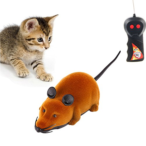 Twshiny Wireless Remote Control RC Rat Mouse Toy for Cat Dog Pet novità regalo divertente, LED Mouse Brown