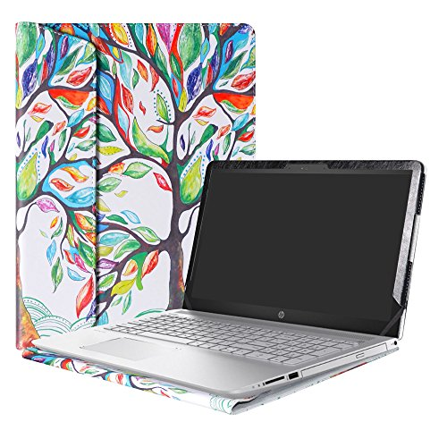 Alapmk Diseñado Especialmente La Funda Protectora de Cuero de PU para 15.6' HP Pavilion 15 15-ccXXX 15-cdXXX/Pavilion Power 15 15-cbXXX Series Ordenador portátil,Love Tree