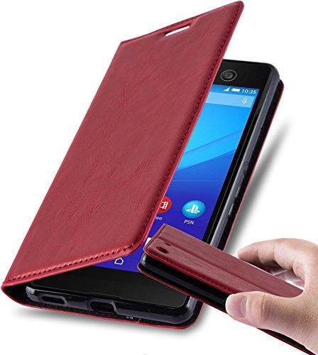 Cadorabo Hülle für Sony Xperia M5 - Hülle in Apfel ROT – Handyhülle mit Magnetverschluss, Standfunktion & Kartenfach - Hülle Cover Schutzhülle Etui Tasche Book Klapp Style