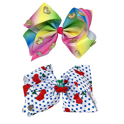 Jojo Siwa Girl's Bow Set 2 Bows - Rainbow and Gold Hearts, White Polkadot with Cherries
