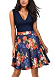 Miusol Women's Casual Flare Floral Contrast Evening Party Mini Dress,Large,Navy Blue