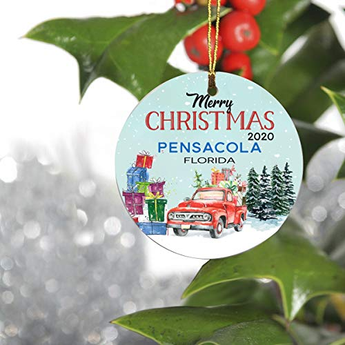 FamilyGift Merry Christmas Ornament with Name City Pensacola Florida State - Red Truck Ornaments for Christmas Tree 2020 - Keepsake Gift Ideas Ornament Ceramic 3' Circle Flat