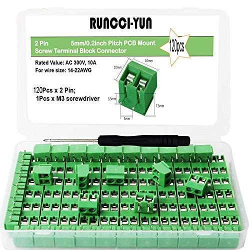 RUNCCI-YUN 120 Pcs 5mm 2 Pin PCB Mount Screw Terminal Block, Schraubklemme Steckverbinder, für Arduino (2 Pin-120pcs)