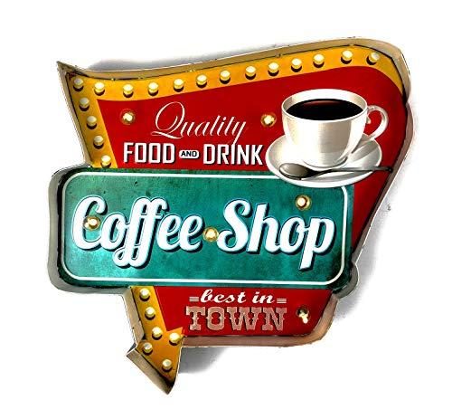 DiiliHiiri Leuchtschild Retro-Schild Wandschild im Vintage-Stil LED Schild für Cafe Pub Dekoschild Zubehör für Wohnkultur 50er Jahre Haus Dekoration Retro Leuchtkasten Metallhandwerk (Coffee Shop)
