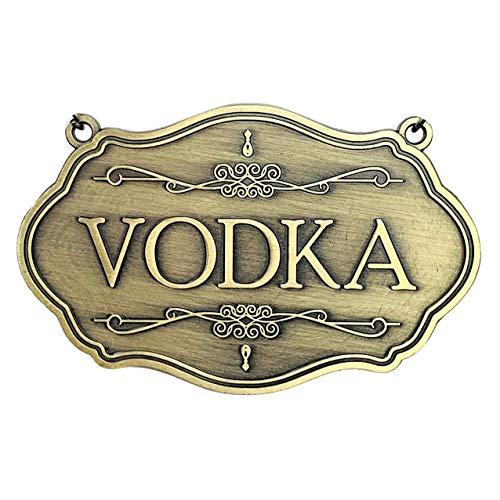Metall-Etikett für Likörflaschen und Dekanter (Wodka) aus antikem Messing, 1 Stück