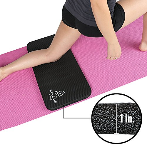 Kinesis Yoga Knee Pad Cushion - Extra Thick 1 inch (25mm) for Pain Free Yoga - Includes Breathable Mesh Bag for Easy Travel and Storage