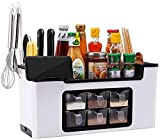 BBGSFDC Multiusos condimento Sistema de la Caja, de pie Tarros con el Estante del sostenedor del teléfono móvil del cajón Tipo de condimentos Jar Set-Gris (Color : White)