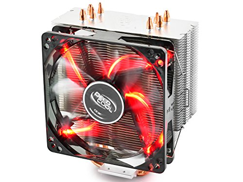 DeepCool Gammaxx 400 Dissipatore di Raffreddamento 4 Heatpipes con Ventola LED Rosso PWM Silenziosa da 120mm per Cpu Socket Intel 1155 1151 1150 775 1366 e AMD AM4 AM3