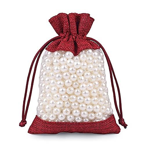 ZOVCO 50 bolsitas de regalo de yute de organza blanca de 13 x 18 cm, ideales para bodas, cumpleaños, comuniones, caramelos, joyas, vino tinto