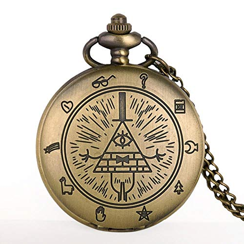 URNOFHW Nuevo Reloj de Bolsillo de Bronce del Cuarzo de la Vendimia del Collar analógico Hombres Mujeres Relojes Regalo de Cadena
