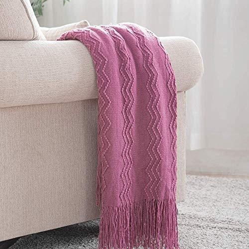 BOURINA Sofa-Überwurf, leicht, weich, gemütlich, dekorativ, gestrickt, Fransen, Dunkelviolett, 125 x 152 cm