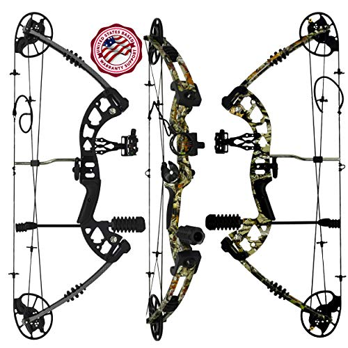 RAPTOR Compound Hunting Bow Kit: LIMBS MADE IN USA | Fully adjustable 24.5-31 Draw 30-70LB pull | Up to 315 FPS | WARRANTY & 100% 30 day GUARANTEE | 5 Pin Lighted Sight, Biscuit Rest | W STRING STOP