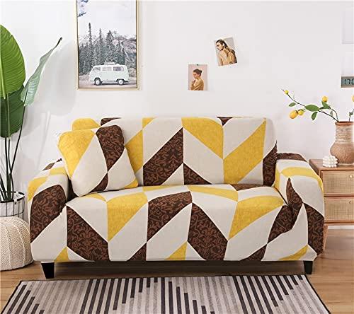 ASCV Funda de sofá con Estampado geométrico nórdico Four Seasons Funda elástica a Cuadros Tight Wrap Funda de sofá elástica Universal A8 4 plazas