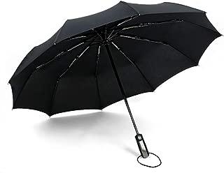 Windproof Compact Automatic Open Travel Folding Umbrella 10 Ribs - Black