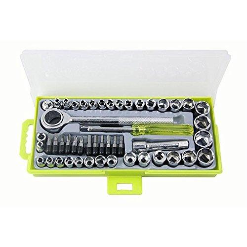 Nuzamas Steckschlüssel-Set, 50 Stück, 6,35 mm (1/4 Zoll), 9,5 mm (3/8 Zoll), Umschaltknarre, DR-Antrieb, Ratschenschlüssel, 12 Sechskant-Schraubendreher-Bits, Werkzeuge mit Koffer