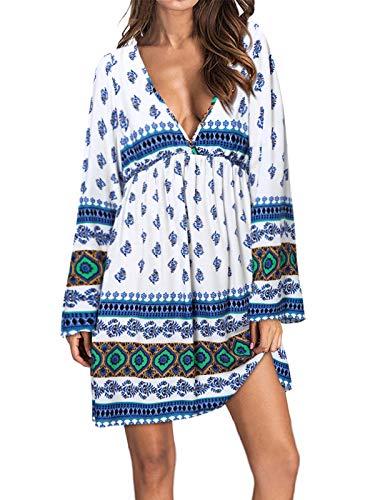 KIDSFORM Damska boho kwiatowa plaża okrycie mini sukienka sukienka sukienka sukienka damska z długim rękawem głęboki dekolt w serek luźna luźna luźna luźna luźna luźna luźna koszula sukienka
