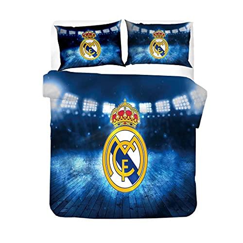 AINYD Lleva el Logo del Real Madrid Football Club Muy Suave Transpirable Microfibra Juegos de Fundas para edredon, Funda nórdica con Cremallera(220x240cm), Respirable Almohada