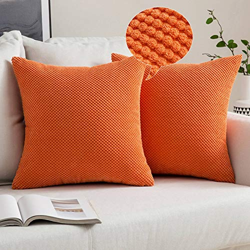 MIULEE Corduroy Granule Throw Pillow Covers Soft Pellets Solid Decorative Square Cushion Case for Sofa Bedroom Orange 18'x18'2 Pieces