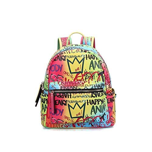 JNML Damesrugzak Laptoptas Casual Designer Schooltassen voor tienermeisjes Leren damesrugzakken Dames Graffiti, midde