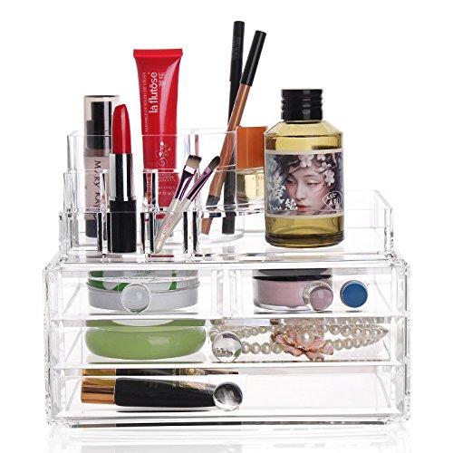 E-meoly Cosmétique Organiseur en acrylique Affichage de maquillage pour vernis à ongles, Listick, peinture Brosse de stockage de support de présentation de mode écran Organiseur de maquillage 3 Couche (N ° 25)