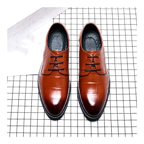 Best-choise Oxfords Casual Zapatos for Hombres Trabajan de Encaje hasta Microfibra de Piel del Dedo del pie en Punta 4,5 cm Bloque talón Textura en Relieve Burnished Estilo Vegano Llamativo