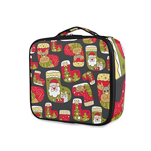 Christmas Stocking Santa Claus Professional Makeup Bag Travel Cosmetic Case Organizer Portable Makeup Toiletry Bag Makeup Travel Bag for Women