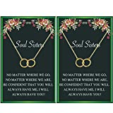 Soul Sister Necklace,BFF Necklace for 2,Two Interlocking Infinity Double Circle Necklace Sister Birthday Gift for Women Girls(Gold)