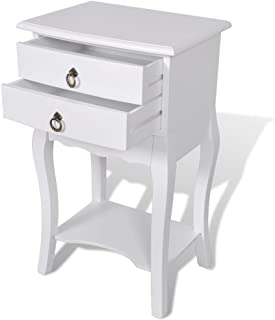 Tidyard Side End Table Nightstand with 2 Storage Drawers Bedside Cabinet for Home Office Living Room Furniture White