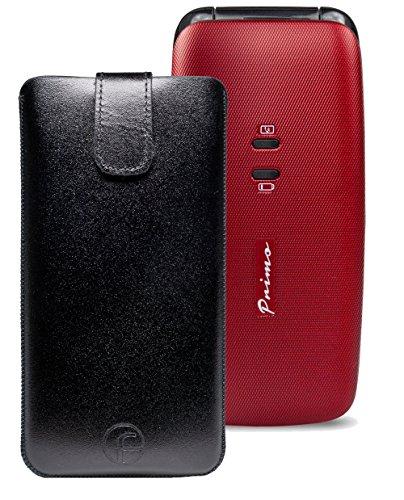 Original Favory Etui Tasche für / DORO Primo 401 / Leder Handytasche Ledertasche Schutzhülle Hülle Hülle *Speziell - Lasche mit Rückzugfunktion* in schwarz