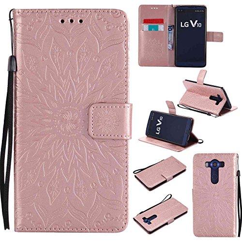 pinlu® PU Leder Tasche Etui Schutzhülle für LG V10 Lederhülle Schale Flip Cover Tasche mit Standfunktion Sonnenblume Muster Hülle (Roségold)
