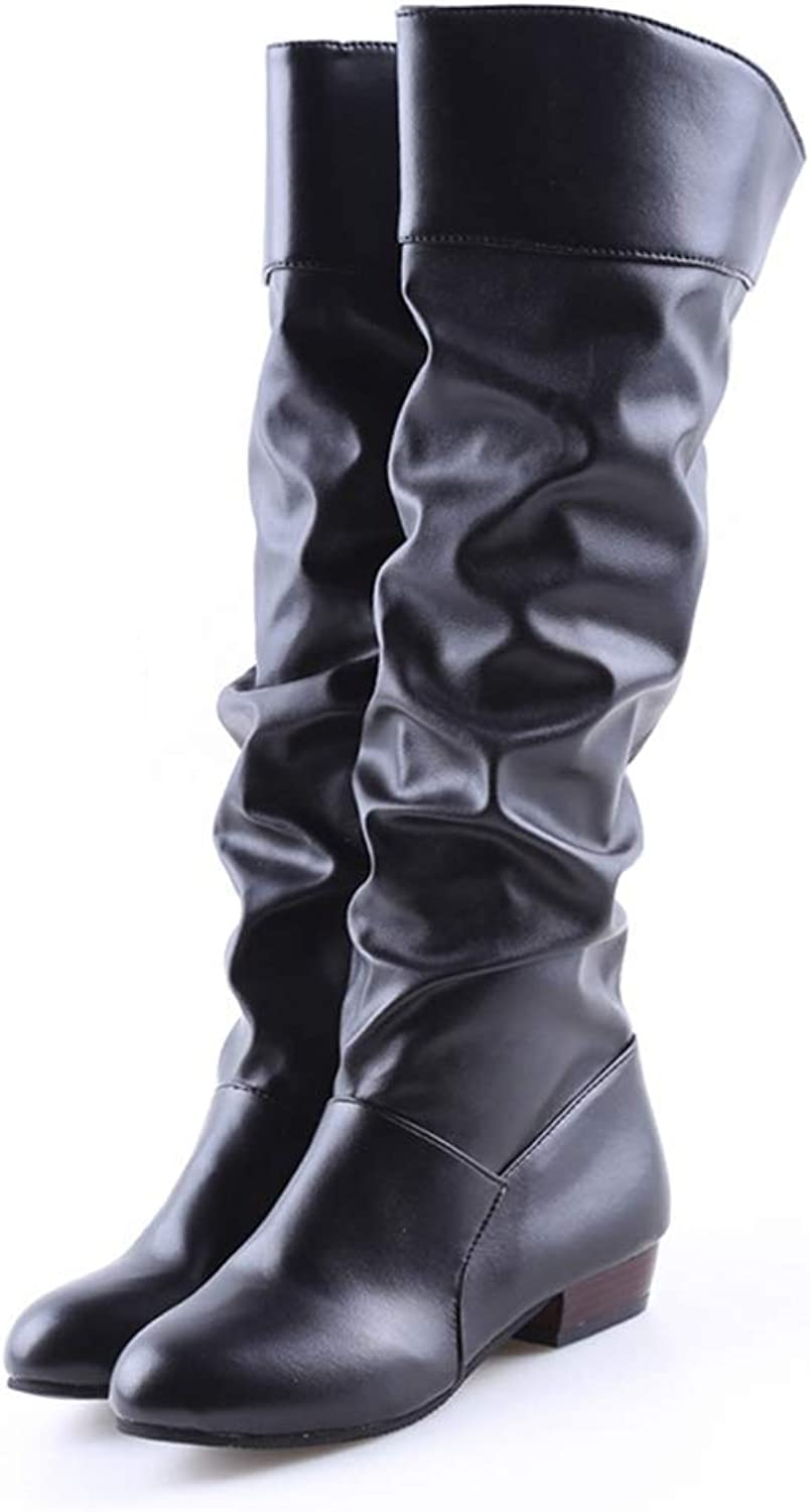 Lelehwhge Spring Boots Botas Female Stretch Pu Leather Boots shoes Woman Black White Roma Knee-Length Boots Black 7.5 M US