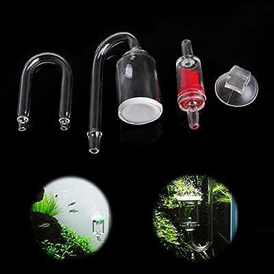 GEZICHTA Aquarium Check Valve Set, Lot DE 4Pcs Aquarium Fish Tank Diffuseur de CO2Réacteur de dioxyde de Carbone + Clapet Anti-Retour + Tube en Verre en Forme de U + Ventouse