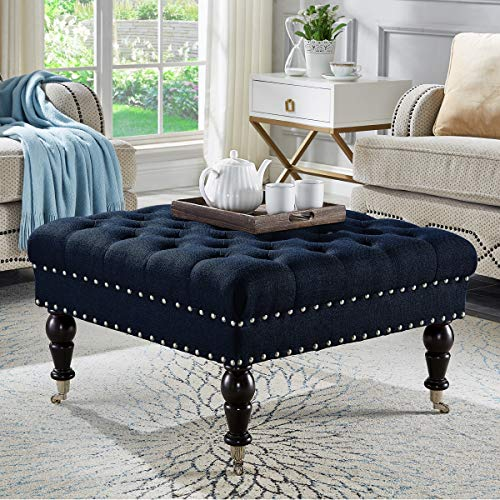 24KF Large Square Upholstered Tufted Button Linen Ottoman Coffee Table , Large Footrest with Caters Rolling Wheels-Navy