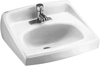 American Standard 0356.041.020 Lucerne Wall-Mount Lavatory Sink with Center Faucet Hole for Exposed Bracket Support, White