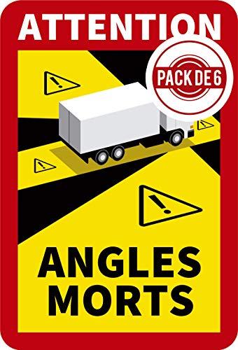 Pack 6 adhesivos/pegatinas 25x17cm señalización Ángulos Muertos/Angles Morts. Transporte Francia