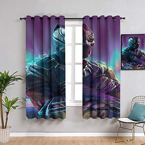 Emily Simon Avenger Superhero Kids Curtain,Black Panther,Wakanda Forever Poster Movie Window Blackout Curtains,Complete Darkness, Noise Reducing Curtain 72'x96'(183x 245 cm)