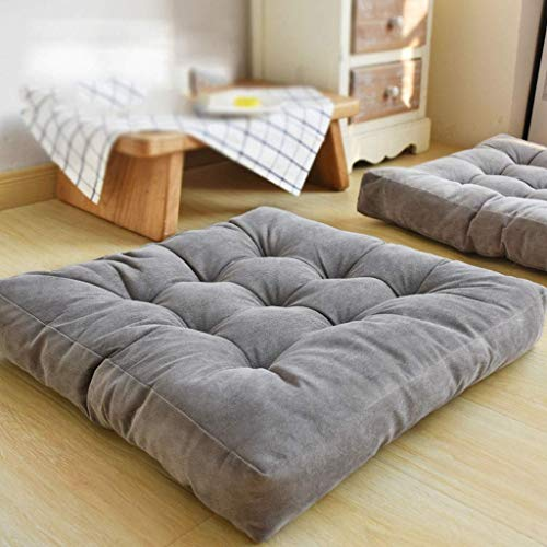 Square Corduroy Floor Pillow Chair Cushion Tatami Style Futon Pad Window Pad Yoga Mat 22x22-inches,Grey D5/8 Jzx-n